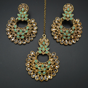 Kaara- Pista/Gold Polki Earring Tikka Set - AntiqueGold