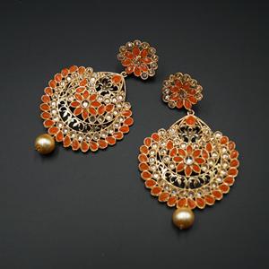 Vams - Orange & Gold Stone Earrings - Gold