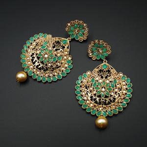 Vams - Pista & Gold Stone Earrings - Gold
