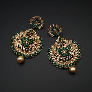 Vams - Green & Gold Stone Earrings - Gold
