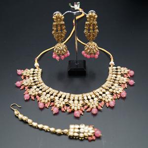 Chameli Gold Kundan/Coral Beads Necklace Set - Antique Gold