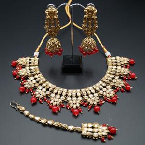 Chameli Gold Kundan/Red Beads Necklace Set - Antique Gold