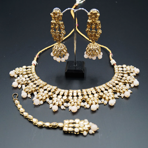 Chameli Gold Kundan/ Baby Pink Necklace Set - Antique Gold