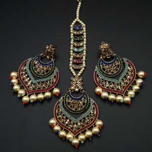 Maya - Multicolour Earring Tikka Set - Antique Gold