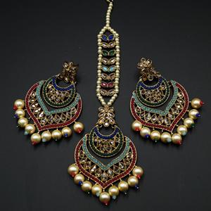 Maya - Multicolour Earring Tikka Set - Antique Gold