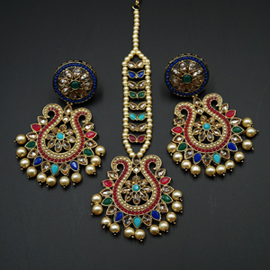 Kaamil - Multicolour Earring Tikka Set - Antique Gold