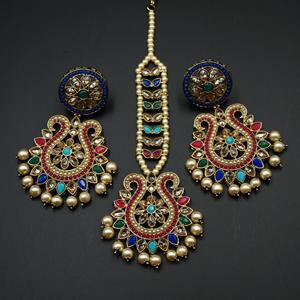 Kaamil - Multicolour Earring Tikka Set - Antique Gold