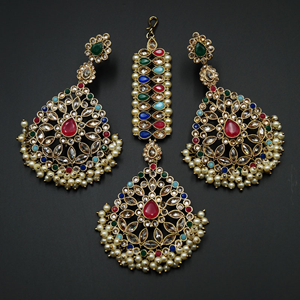 Padma - Multicolour Earring Tikka Set - Antique Gold