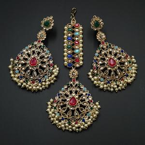 Padma - Multicolour Earring Tikka Set - Antique Gold