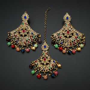 Diavi - Multicolour Earring Tikka Set - Antique Gold
