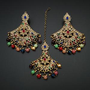 Diavi - Multicolour Earring Tikka Set - Antique Gold