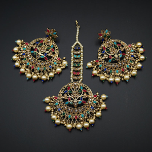 Edha - Multicolour Earring Tikka Set - Antique Gold