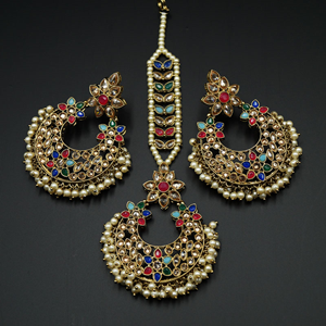 Taani - Multicolour Earring Tikka Set - Antique Gold