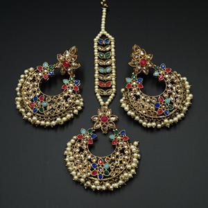 Taani - Multicolour Earring Tikka Set - Antique Gold