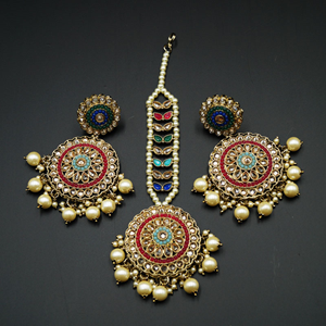 Raaka - Multicolour Earring Tikka Set - Antique Gold