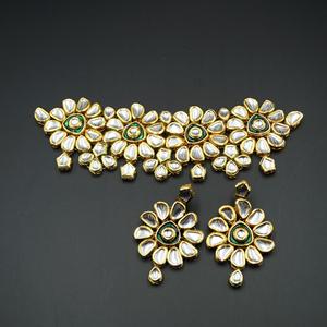 Seema White Kundan/Green Choker Necklace Set - Gold