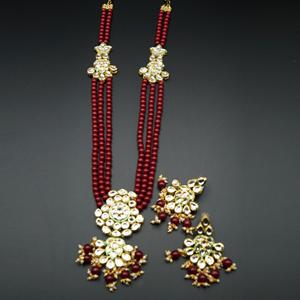 Zama White Kundan/Red Beads Long Necklace Set - Gold