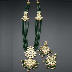 Zama White Kundan/Green Beads Long Necklace Set - Gold