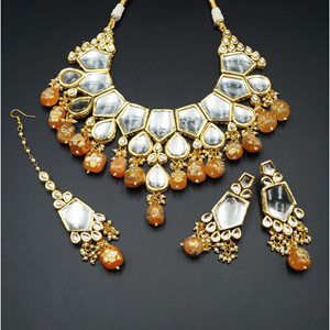 Karisa White Kundan/Peach Beads Necklace Set - Gold