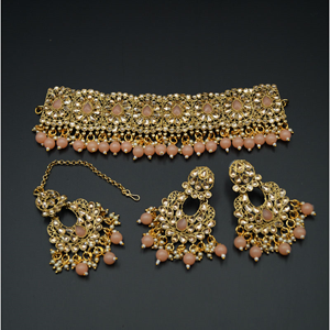 Ella - Gold Polki Stone/Light Peach Choker Set - Antique Gold