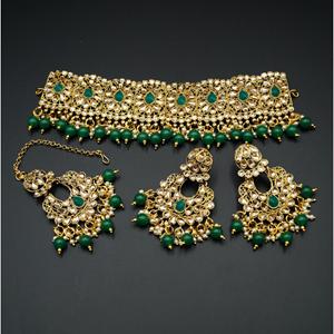 Ella - Gold Polki Stone/Green Choker Set - Antique Gold