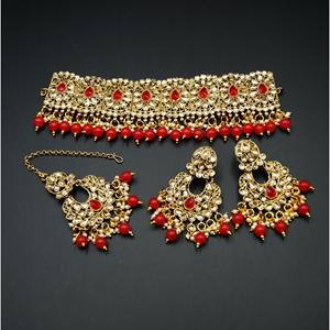 Ella - Gold Polki Stone/Red Choker Set - Antique Gold
