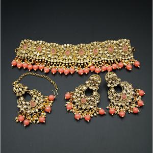 Ella - Gold Polki Stone/Peach Choker Set - Antique Gold