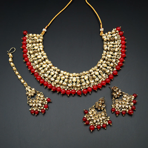 Anuj Gold Polki & Red Beads Necklace Set - Antique Gold