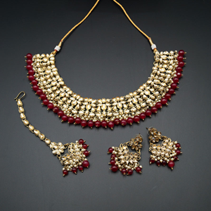 Anuj Gold Polki & Maroon Beads Necklace Set - Antique Gold