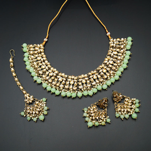 Anuj Gold Polki & Pista Beads Necklace Set - Antique Gold