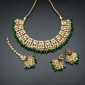 Anuj Gold Polki & Green Beads Necklace Set - Antique Gold