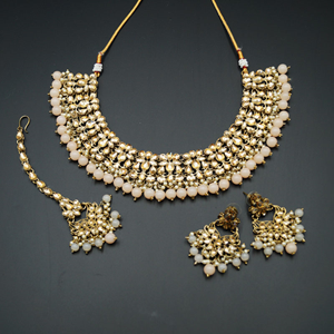 Anuj Gold Polki & Light Peach Beads Necklace Set - Antique Gold