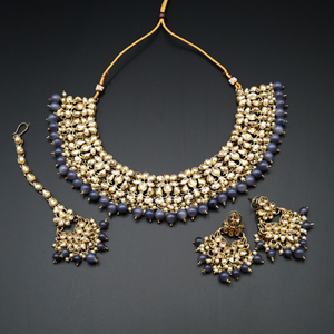 Anuj Gold Polki & Grey Beads Necklace Set - Antique Gold