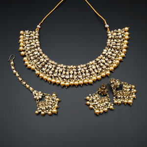 Anuj Gold Polki &Champagne Pearls Necklace Set - Antique Gold