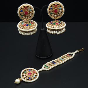 Roma - Multicolour Jhumka Earring Tikka Set - Antique Gold