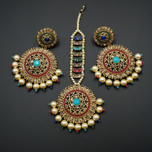 Mehar - Multicolour Earring Tikka Set - Antique Gold