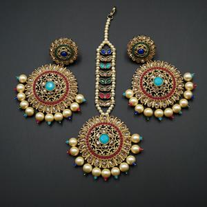 Mehar - Multicolour Earring Tikka Set - Antique Gold