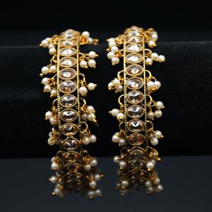 Gaura Gold Polki Stone and Pearl Kharas - Antique Gold