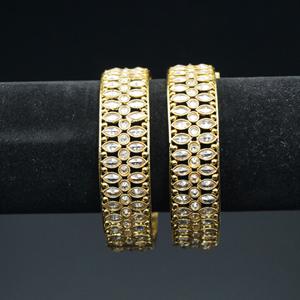 Narvi - Anya- Gold Polki Stone Kharas -Antique Gold