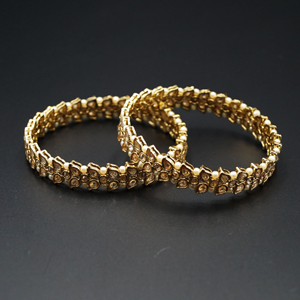 Neeja- Gold Polki Stone Kharas/White Small Pearls -AntiqueGold