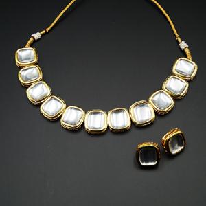 Pahi White Kundan Necklace Set - Gold
