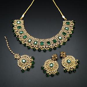 Urbi- Gold Polki & Green Beads Necklace Set - Antique Gold