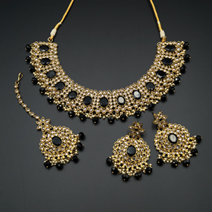 Urbi- Gold Polki & Black Beads Necklace Set - Antique Gold