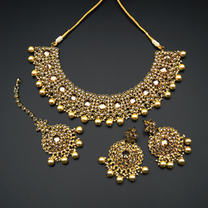 Urbi- Gold Polki & Pearls Necklace Set - Antique Gold