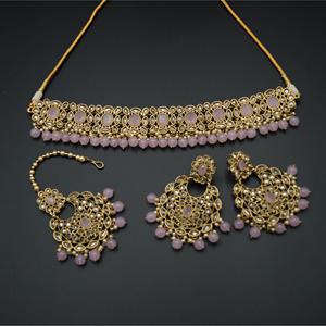Oishi - Gold Polki/Baby Pink Stone Choker Set - Antique Gold