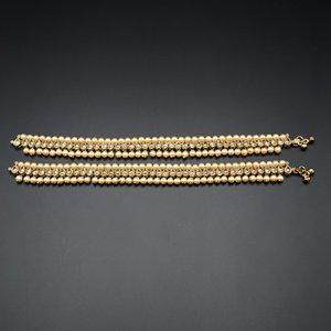 Elka- Gold Polki Payals & Champagne Pearls- Antique Gold