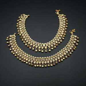 Luaa - White Polki/Pearls Payals - Gold