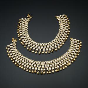 Ghusan- White Kundan/Pearls Payals -Gold