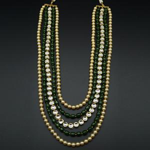 Vama -White Kundan/Green Beads Groom Sherwani Haar - Gold