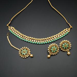 Bagya Gold Diamante/Mint Necklace Set - Antique Goldl
